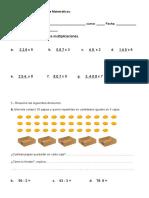 Prueba de Matemáticas Multiplicacion y Division