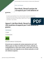 Space X, De Elon Musk, Llevará Cenizas de 152 Muertos Al Espacio