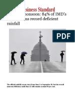 Sluggish Monsoon- 84% of IMD's Subdivisions Record Deficient Rainfall