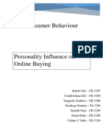 Personality Influence on buying behavior of individuals