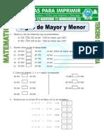 Ficha Signo de Mayor y Menor Para Tercero de Primaria
