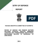 Raksha Mantri Ministry of Defence Recport on Pension