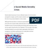 How to Use Social Media Sensibly in Time of Crisis