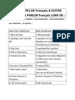 LES FAUTE DE Français A EVITER POUR BIEN PARLER français LORS DE