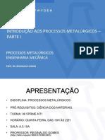 INTRODUÇÃO AOS PROCESSOS METALÚRGICOS