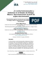 Exclusión contra homosexuales y lesbianas en el Estado de Hidalgo, México. Aproximaciones al perfil de sujeto discriminante
