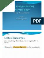 Lecture 8 - Pharmacogenetics