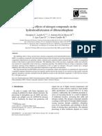 (I)Inhibition Effects of Nitrogen Compounds on the Hydrodesulfurization of Dibenzothiophene (Laredo)