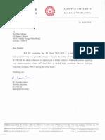 Official Letter, Jadavpur University