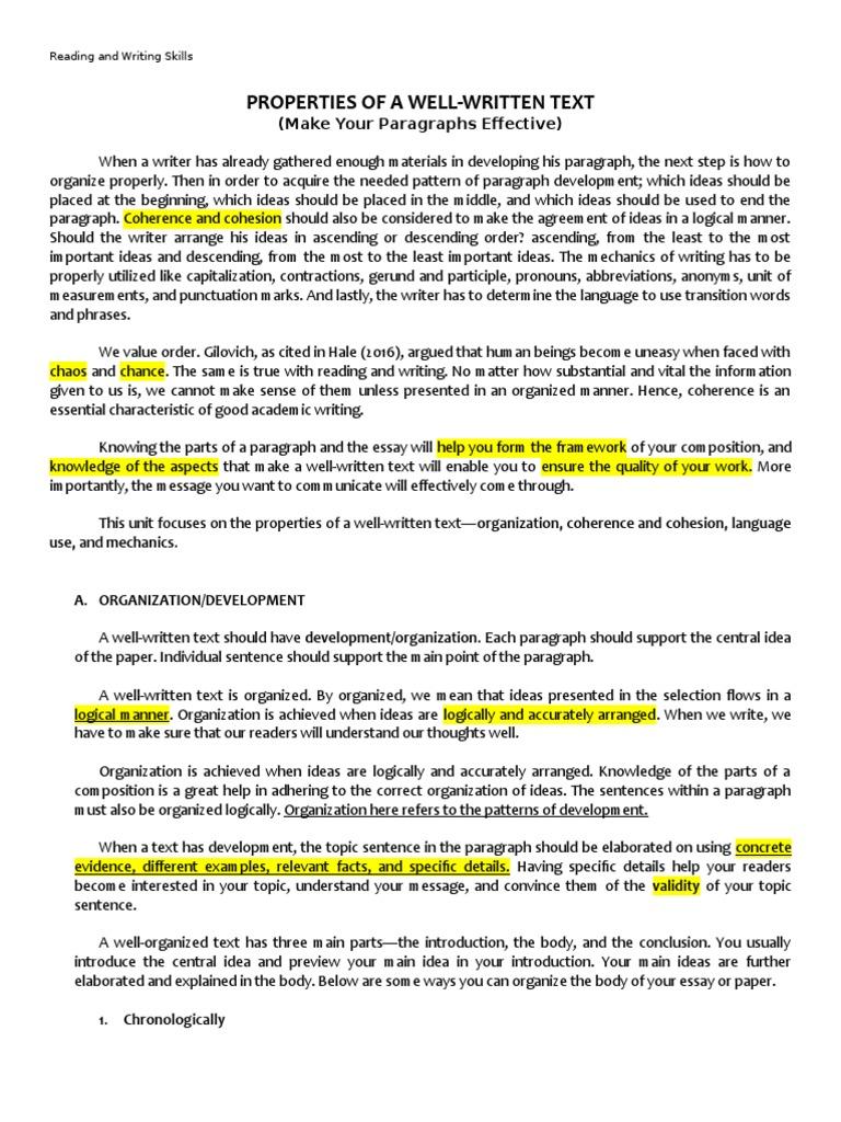 Properties Of A Well Written Text Paragraph Essays