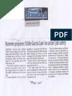 Manila Standard, June 25, 2019, Romero proposes Eddie Garcia Law on actors job safety.pdf