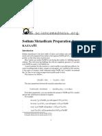 Sodium metasilicate preparation