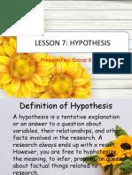 Lesson 7 Hypothesis (1)