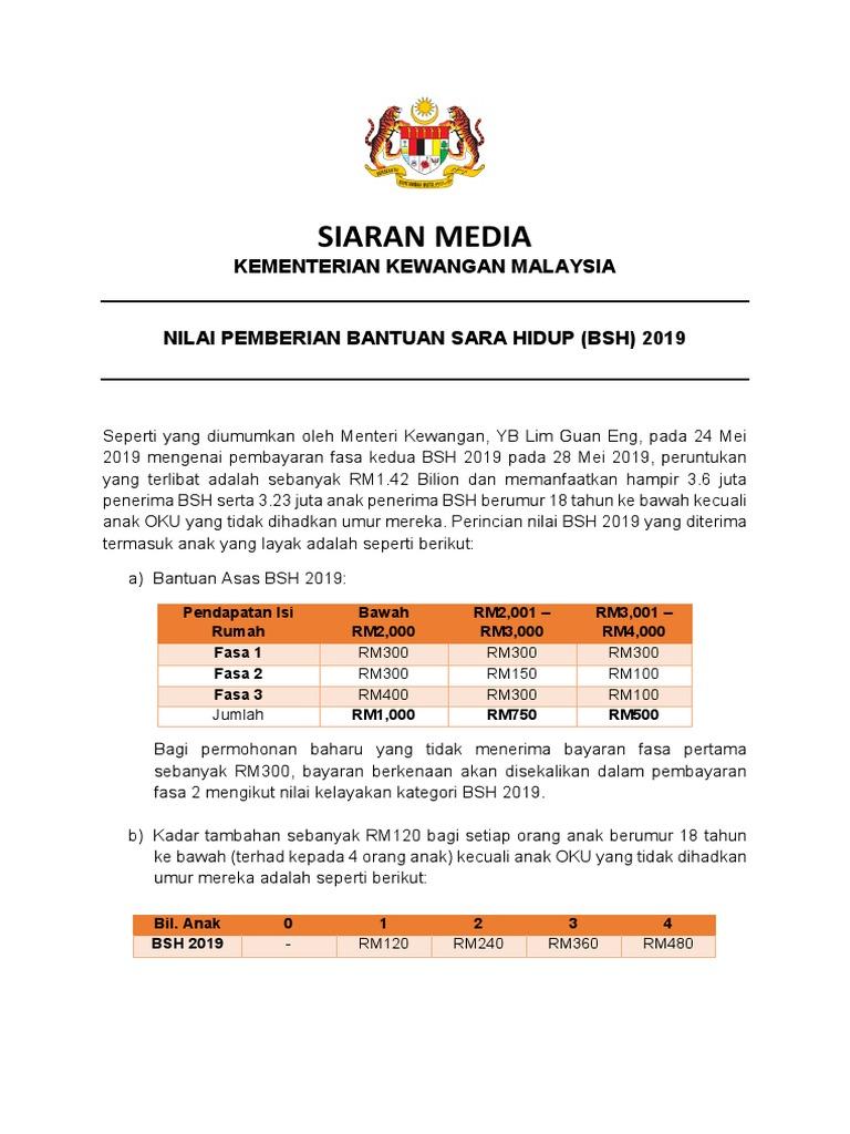 Siaran Media Kementerian Kewangan Malaysia Nilai Pemberian Bantuan Sara Hidup Bsh 2019