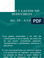 Art. 29 - A Costos y Gastos No Deducibles
