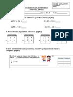 Ev de Matemática 2° básico SUMAS y restas