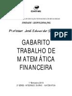 Apostila de Matemática Financeira - CEFET 2019-GABARITO