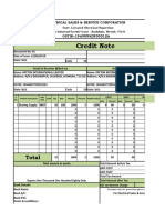 GST Credit Note Format in Excel