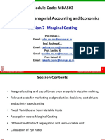 MBA503 - Session 7 - Marginal Costing
