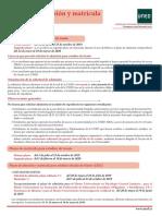 Plazos de Admisión y Matrícula 19-20