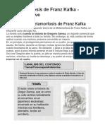 RESUMEN La Metamorfosis de Franz Kafka