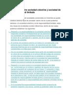Diferencias Entre Sociedad Colectiva y Sociedad de Responsabilidad Limitada