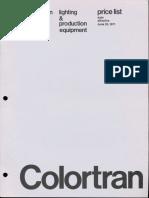 Colortran Price List Lighting & Production Equipment 1971