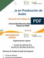 Opciones de Grado Tec Produccion de Audio