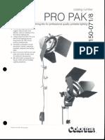 Colortran Pro Pak Spec Sheet 1992