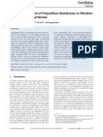 2015 Morphology Control of Polysulfone Membranes in Filtration