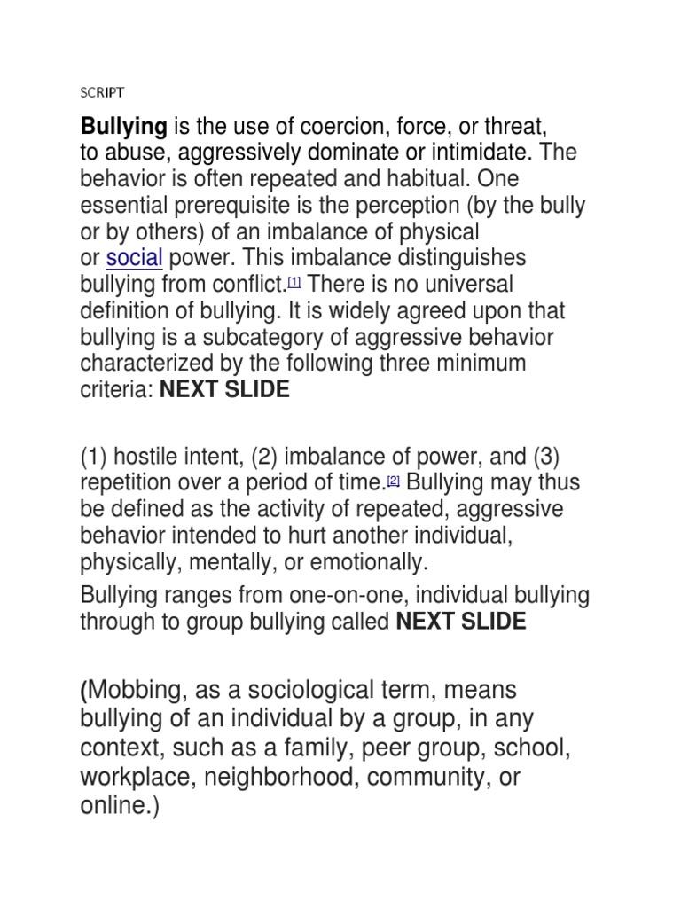 SCRIPT (1) docx | Bullying | Interpersonal Relationships