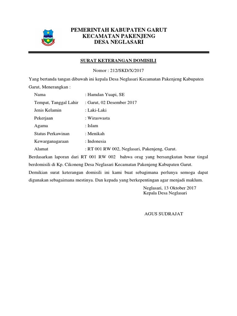 Contoh Surat Keterangan Domisilidocx