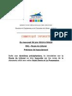 RN1 Route Du Littoral - Prévision de Basculement Total