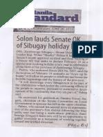 Manila Standard, June 26, 2019, Solon lauds Senate OK of Sibugay holiday bill.pdf