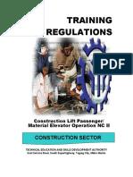 TR - Construction Lift Passenger Material Elevator Operation NC II