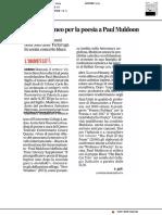 Sigillo di Ateneo ala poesia di Paul Muldoon - Il Corriere Adriatico del 25 giugno 2019