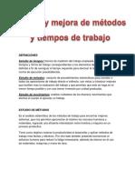 Estudio y Mejora de Metodos y Tiempos de Trabajo