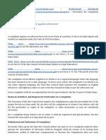 Procedure for Complaints Aganist Advocates