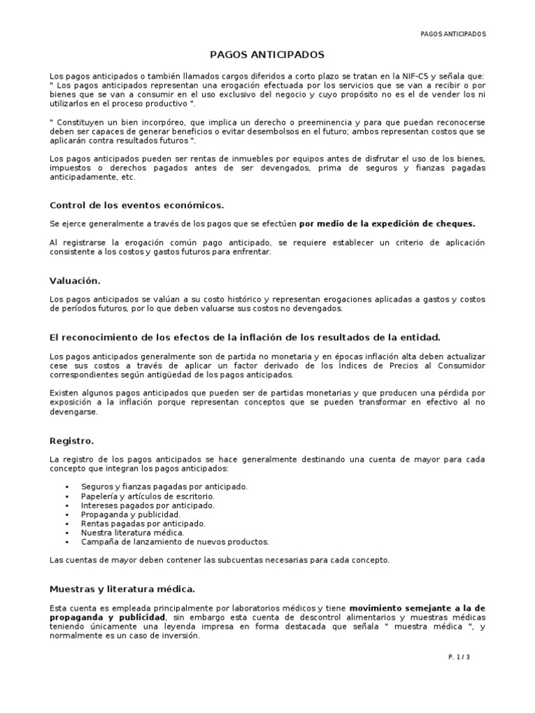 RESUMEN - PAGOS ANTICIPADOS