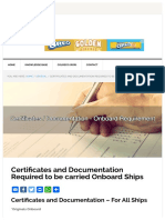 Documents and certifications to be kept on board