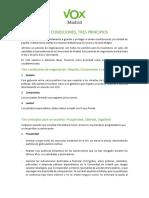 Documento de Vox con sus condiciones para la Comunidad de Madrid
