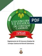VII Concurso Estadual de Cervejas Caseiras Da ACervA Catarinense - Regulamento