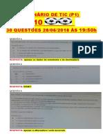 QUESTIONÁRIO 10 BOLA BOLA  TIC P1 COM 30 QUESTÕES 28062018  .-1