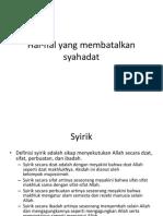 Hal-hal Yang Membatalkan Syahadat