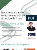 69745 Cómo Llevar Tu SQL Server Al Servicio de Azure - Alberto de Rossi