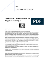 Lacan - Seminar XIV ~ the Logic of Fantasy