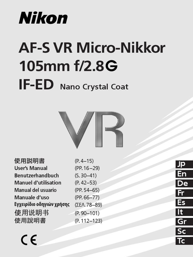 trova fattura risparmia fino all'80% marchio famoso afsvrmicro105_2.8gifed_ch(9l_dl)03.pdf | Autofocus | Camera Lens