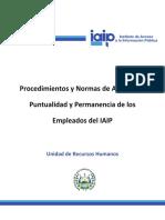 Procedimientos Y Normas de Asistencia, Puntualidad Y Permanencia de Los Empleados Del IAIP Aprobado