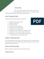 Pengertian Transformasi Data