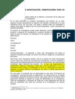 El Proyecto de Investigación, Orientaciones Para Su Elaboración. LOREDO, Javier.